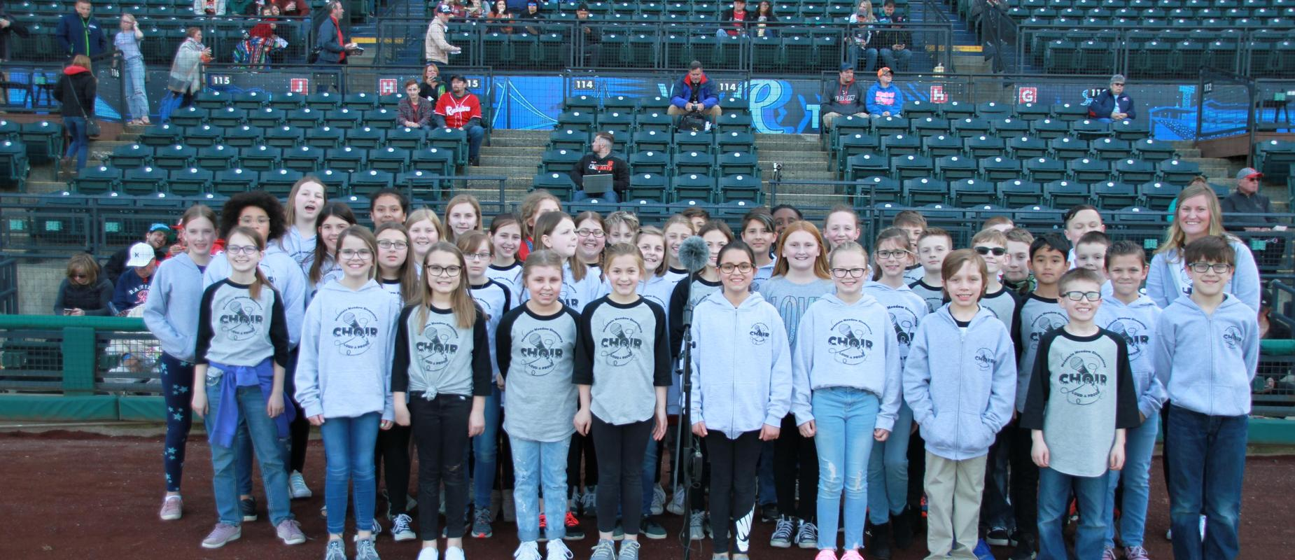 Mountain Meadow Choir singing National Anthem at T Mobile Park