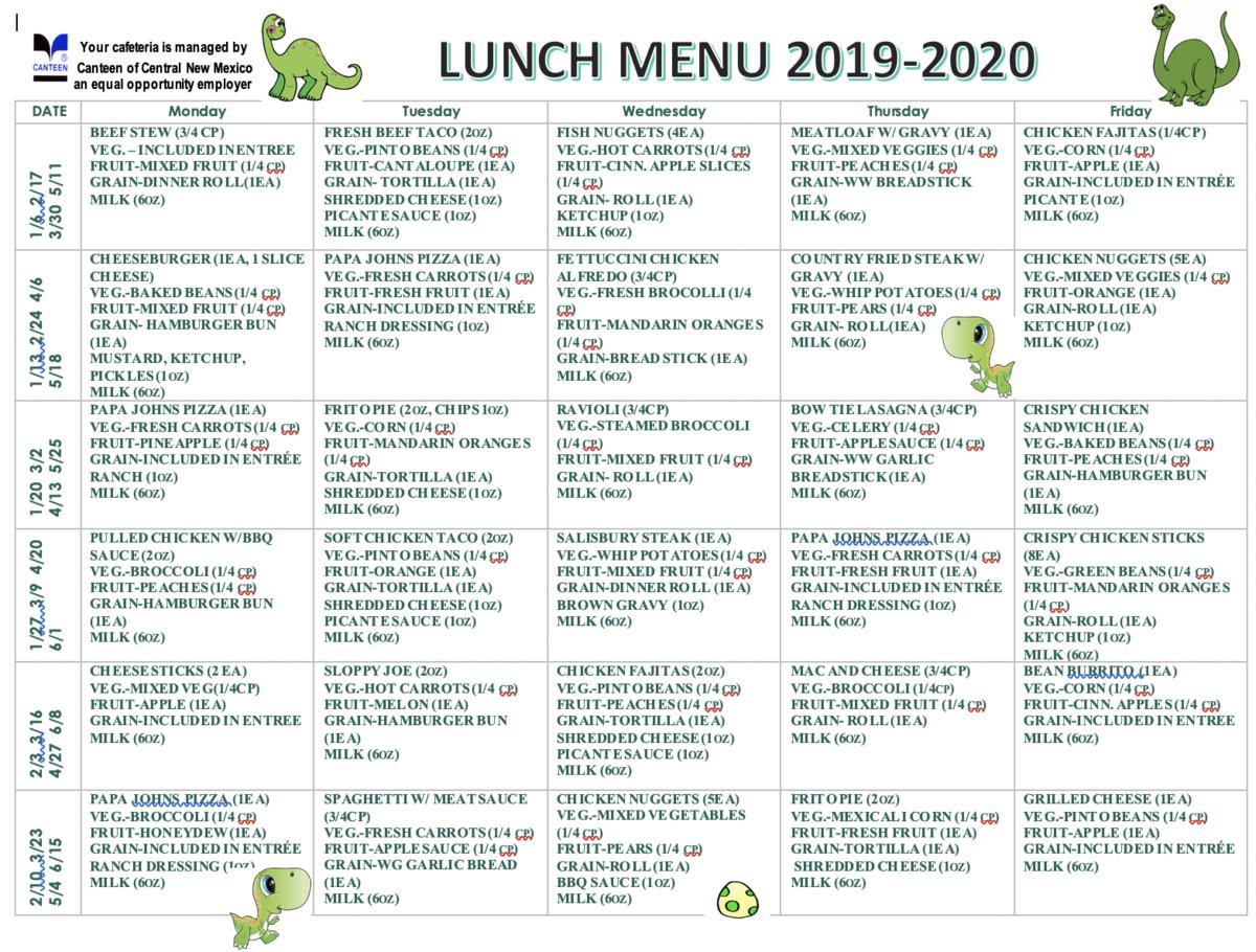 Lunch Menu Winter 2020