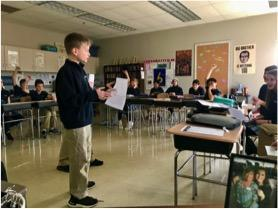 Middle School student presenting