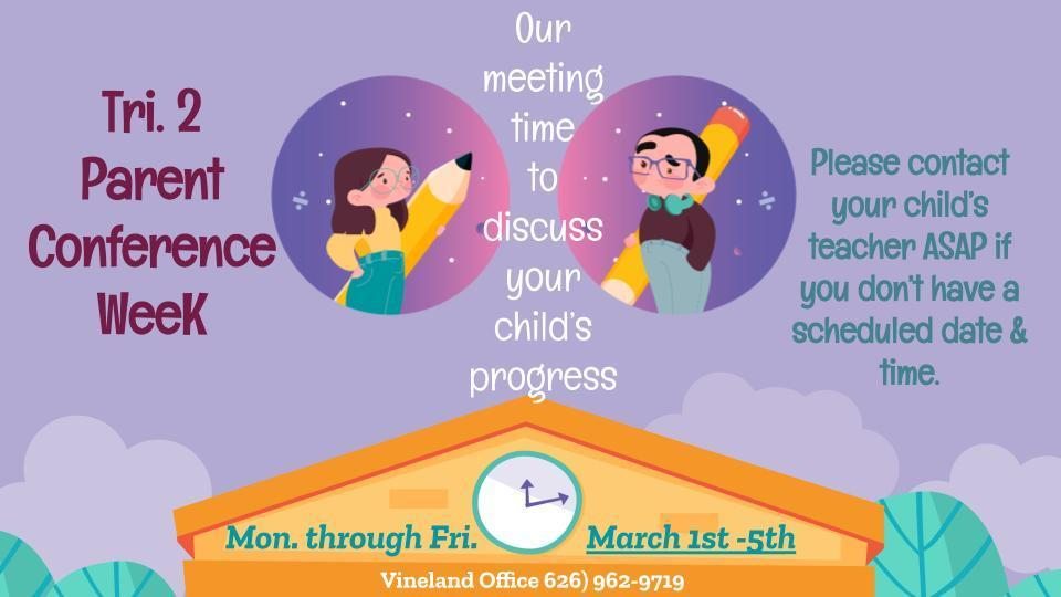 Trimester 2 Parent Conference Week is Coming Soon! Image