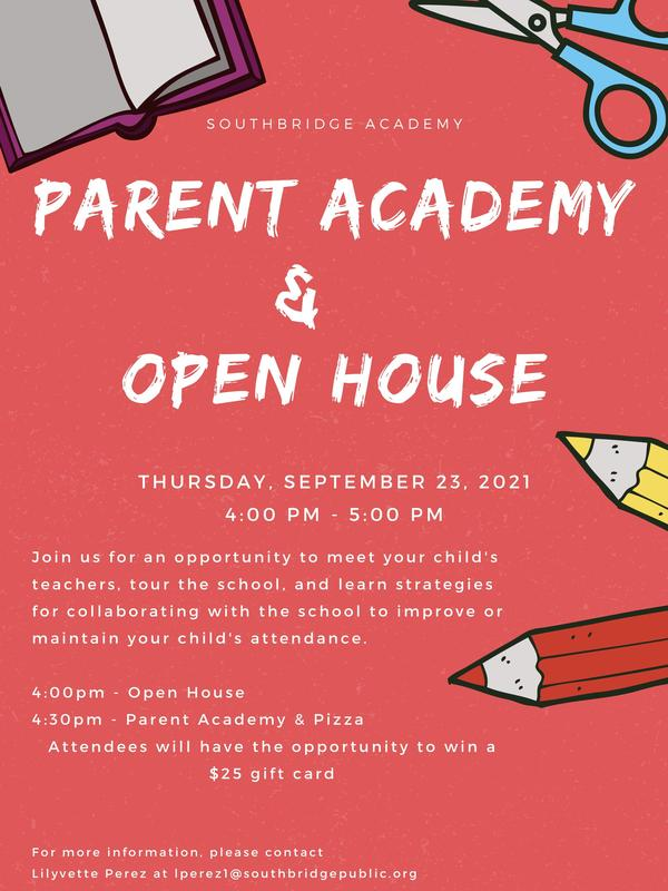 Flyer in English for open house event.  All wording is also in the body of the post.