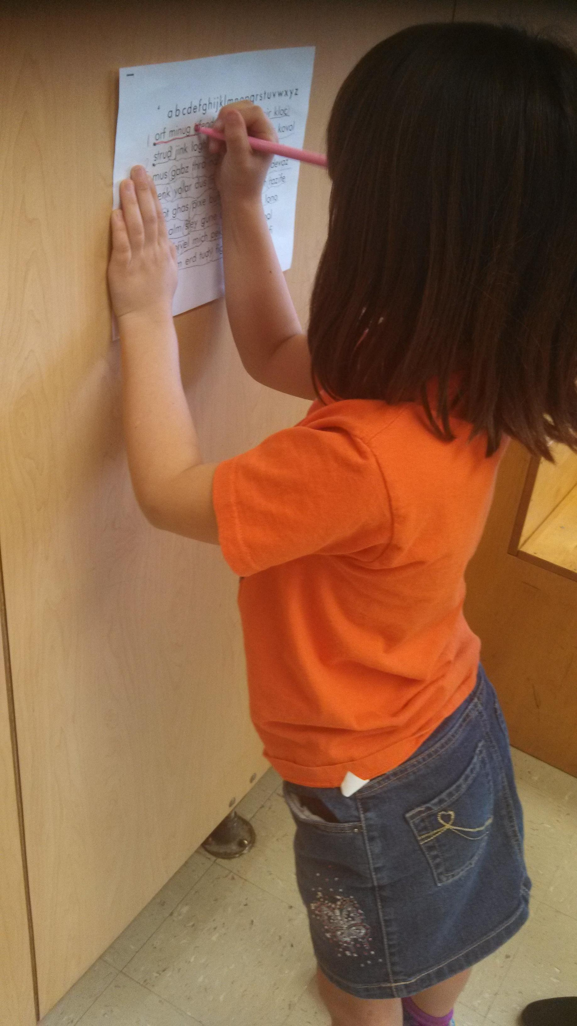 Writing on a vertical surface is good for upper body, posture and for correct wrist placement.
