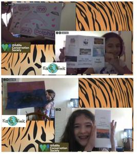 2 collages of girls holding aquatic endangered species projects