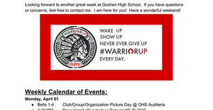 GHS Newsletter for the week of April 1st!