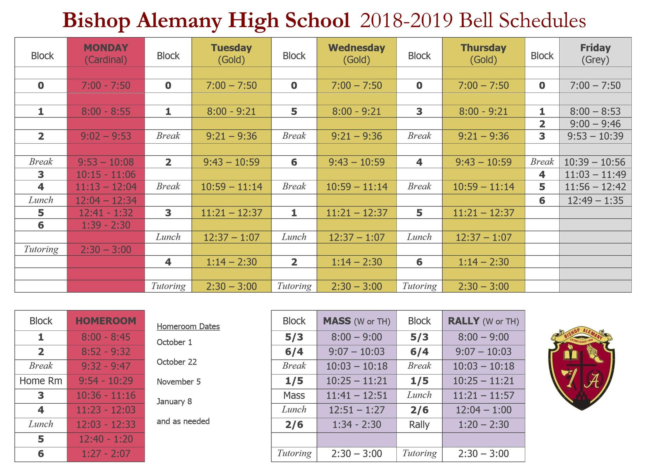 2018 2019 bell schedule about us bishop alemany high school