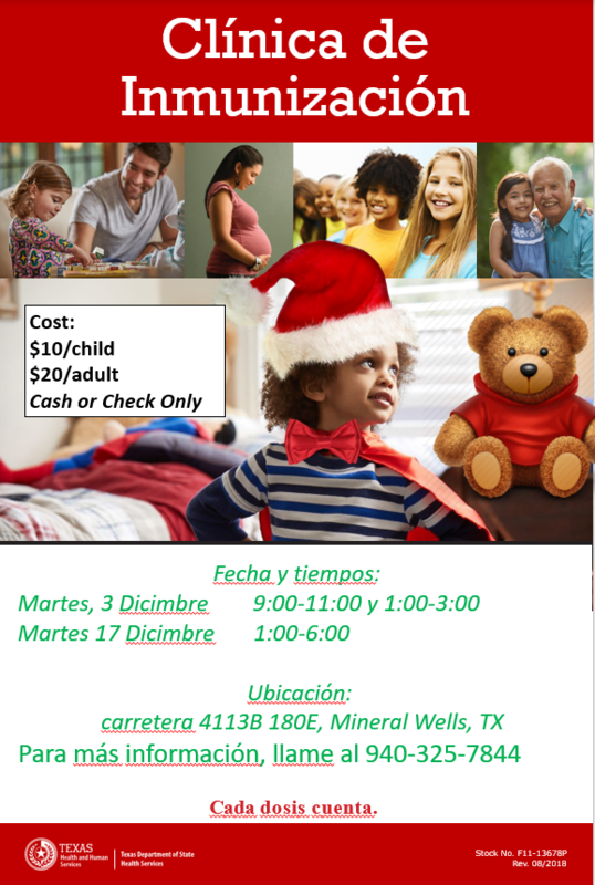 Flyer with times, locations, and dates for the December Immunizations clinic. Pictures with children and a teddy bear. All in Spanish.