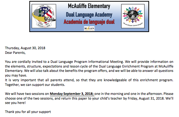 invitation for dual language