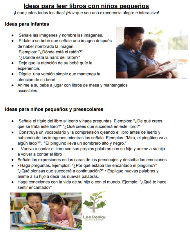 Ideas for reading aloud with younger children (in Spanish)