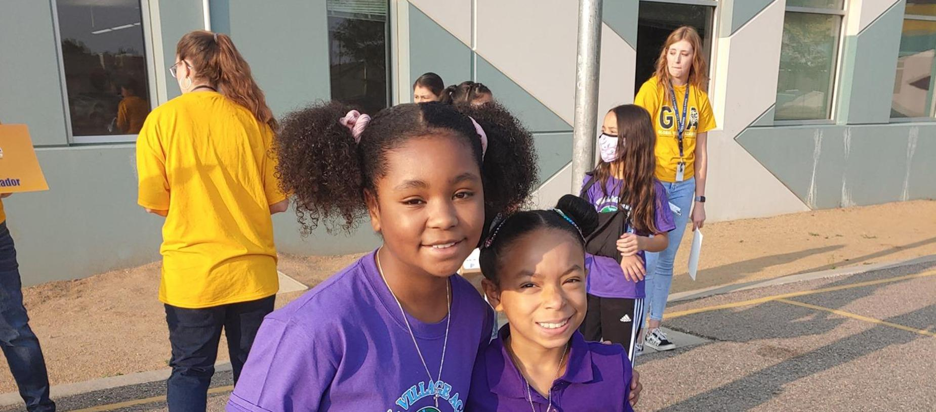two girls on First Day of School 2021-2022!