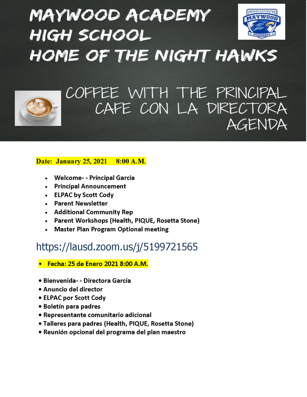 Notice for Coffee with the Principal