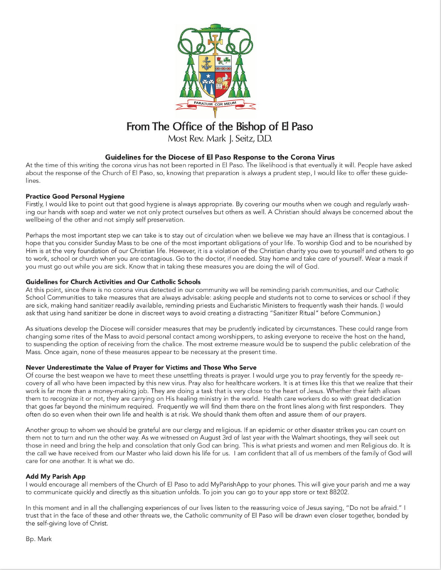 Guidelines for the Diocese of El Paso Response to the Corona Virus Featured Photo