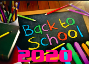 Back to school written in colorful chalk surrounded by color pencils and a pink 2020 label