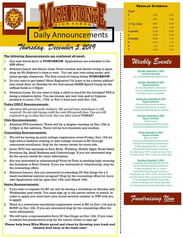 Daily Announcements Thumbnail Image