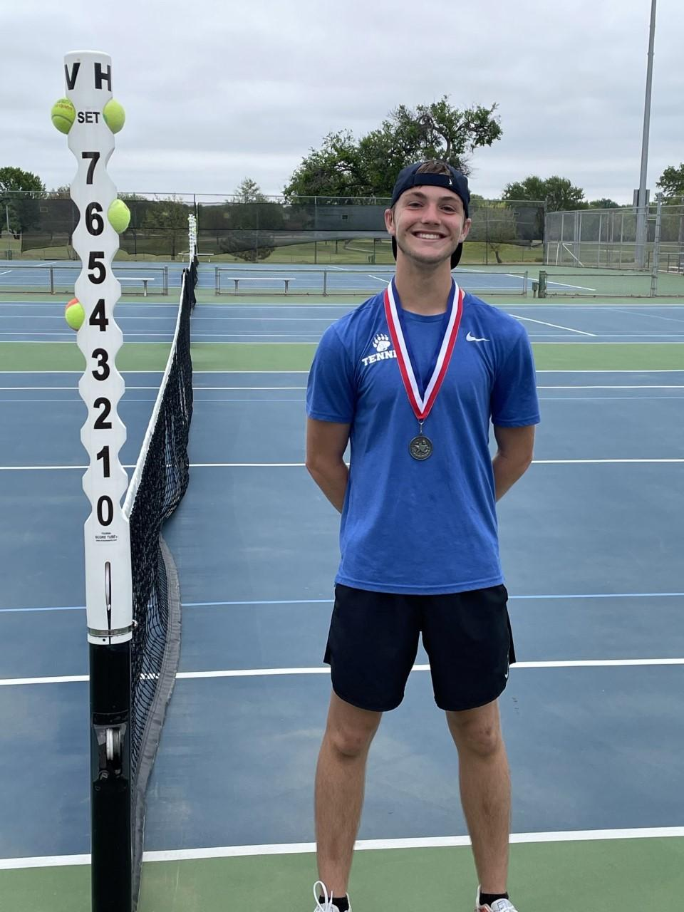 Cameron Vieck won second place in boys' singles at the district tournament in Wichita Falls, and he advanced to the regional tournament in Lubbock on April 28.