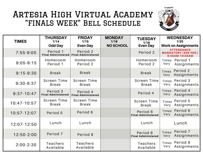 Finals Bell Schedule