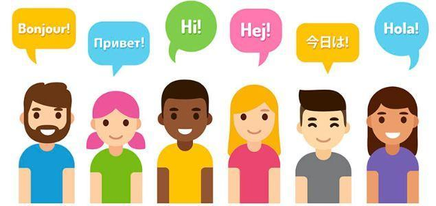 Children saying hello in different languages
