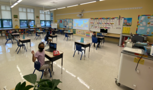 Socially distanced classroom of 1st graders