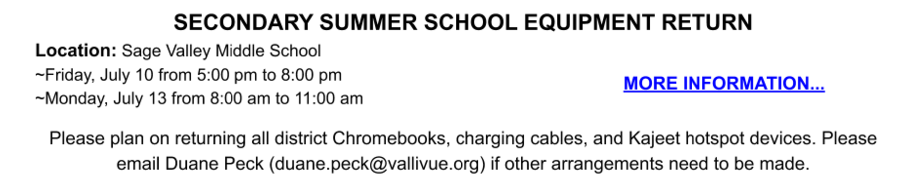 Summer School Equipment Return