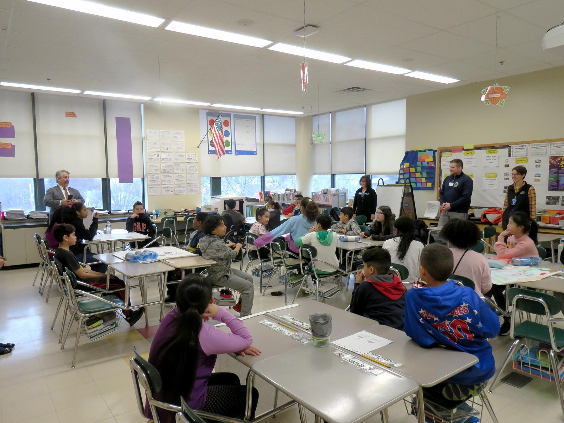 A wide angle view of the fifth-grade classroom