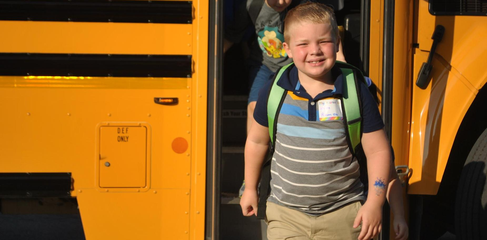 SBPS Student arriving on first day