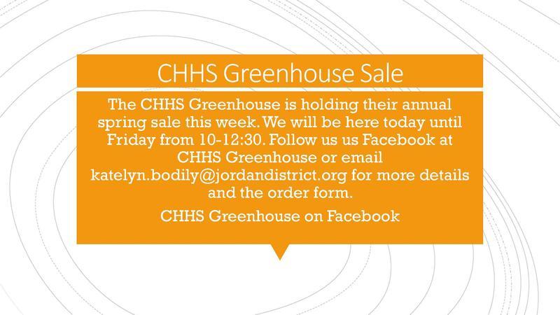 CHHS Greenhouse Sale!