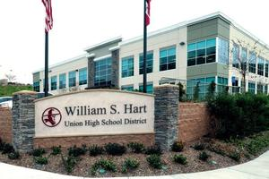 Photo of the William S. Hart Union High School District administrative office building and marquee