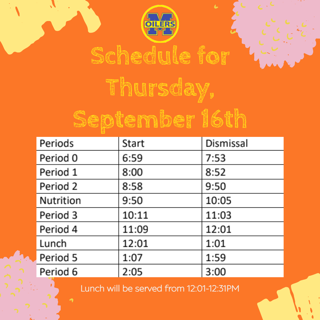 Schedule for Sept. 16th