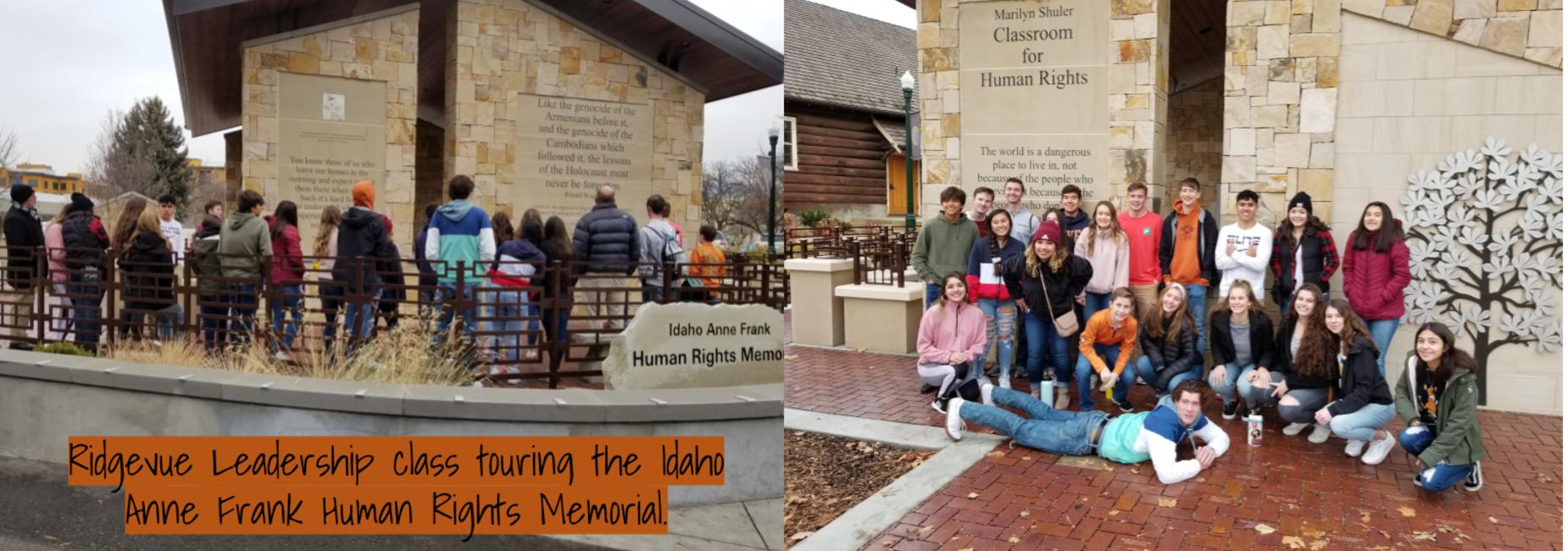 Ridgevue Leadership Class touring the Idaho Anne Frank Human Rights Memorial