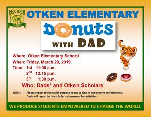 Otken Elementary Donuts for Dads announcement 2019