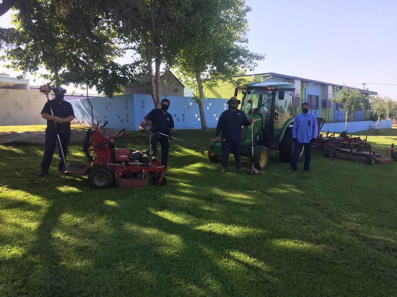 El Monte City School District maintenance workers are tidying up campuses, keeping fields well groomed, handling major repairs often left until summer and supporting the grab-and-go meal distribution during the extended dismissal.
