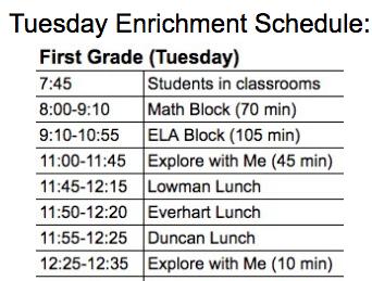 Tuesday's Enrichment Schedule