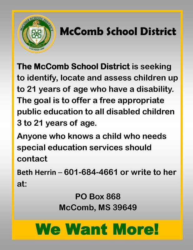McComb School District Child Find Flyer 2019