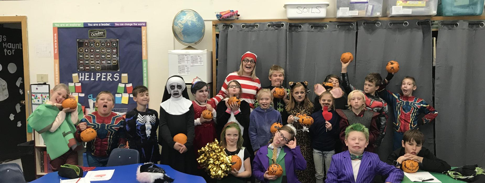Mrs. Ophus's Class and their pumpkins