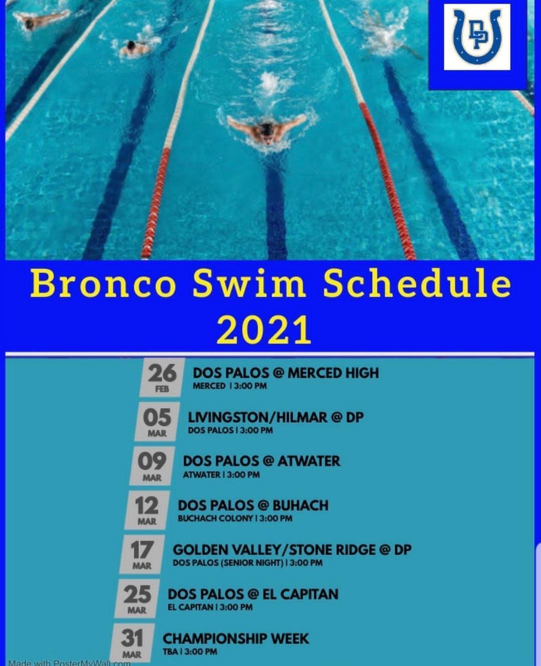 2021 Swim team Schedule