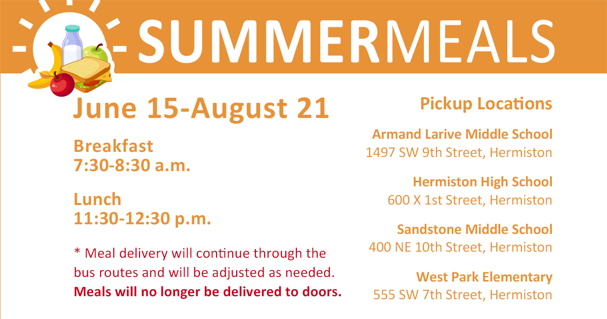 Flyer explaining the summer meal program.