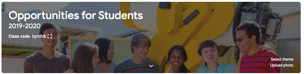Google Classroom of Opportunities for Students