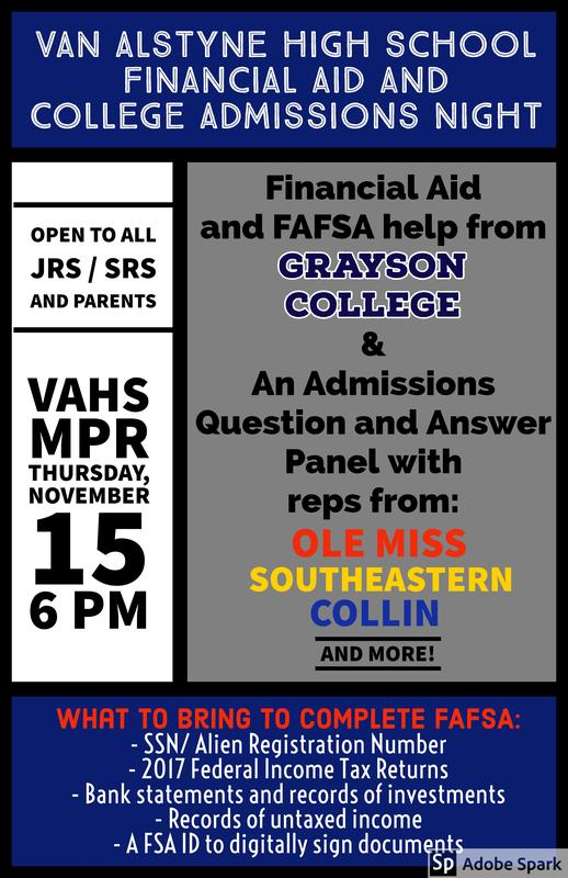 Financial Aid/ Admissions Night at VAHS Thumbnail Image
