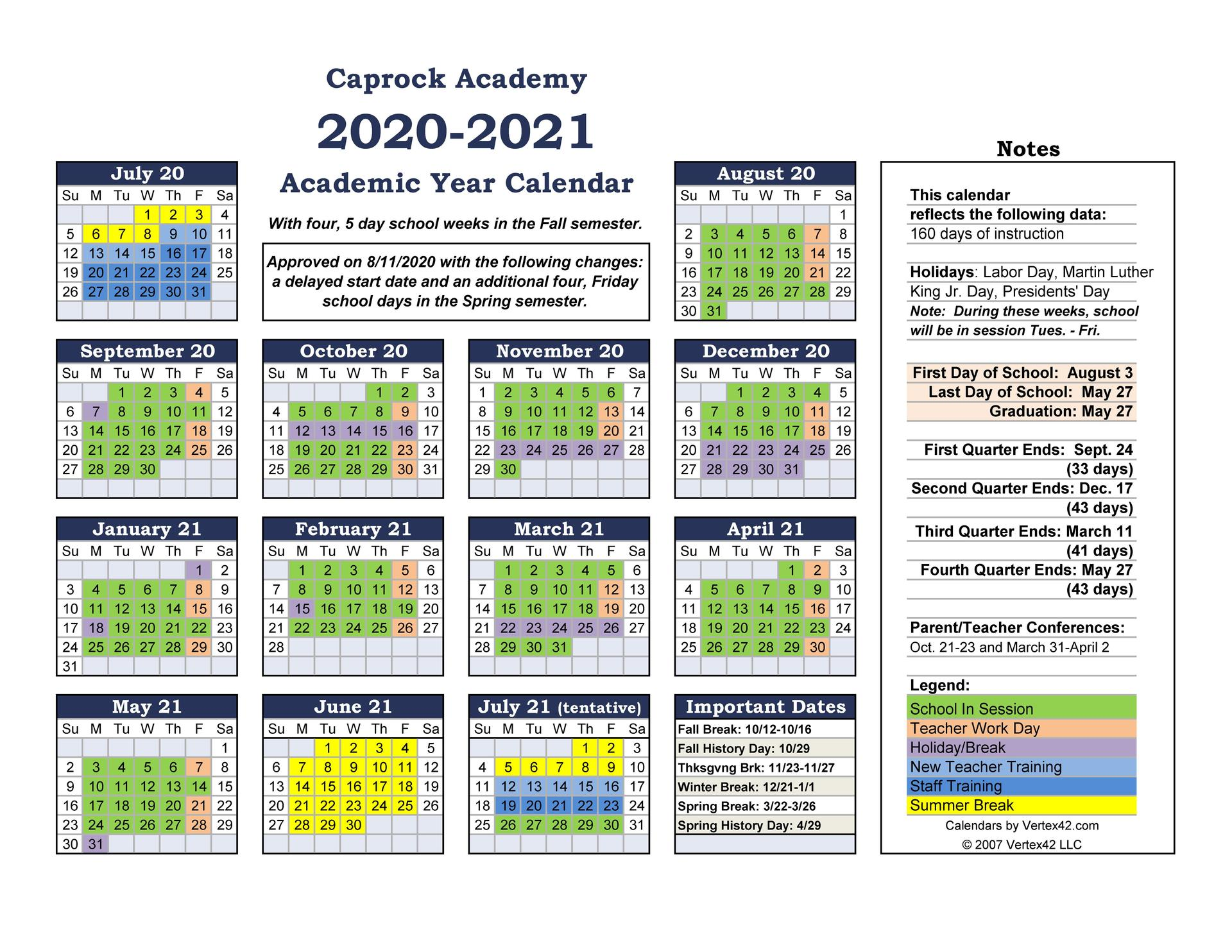 Academic Calendar for 2020-2021updated 8-11-2020
