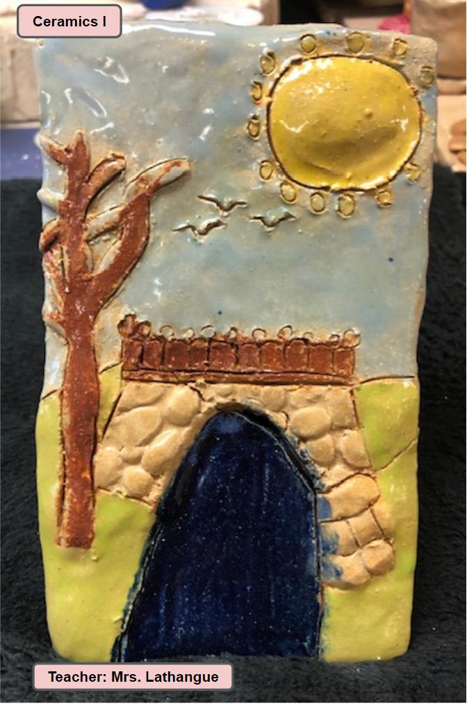 Ceramics One Art Class Project - Teacher Mrs. Lathangue - Stone Wall  Entrance