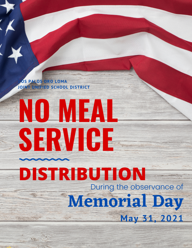 American flag No Meal Service on Memorial Day May 31, 2021