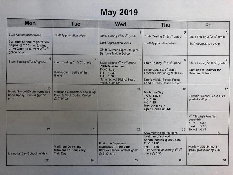 May school calendar Thumbnail Image