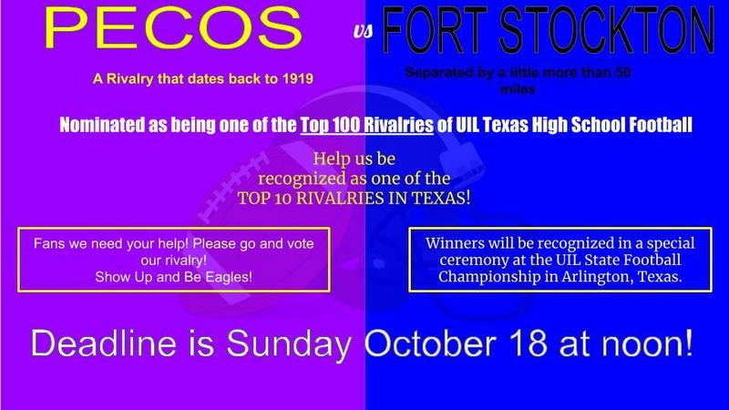 Pecos Vs Fort Stockton nominated as Top 100 Rivalries in the History of UIL Texas High School Football.