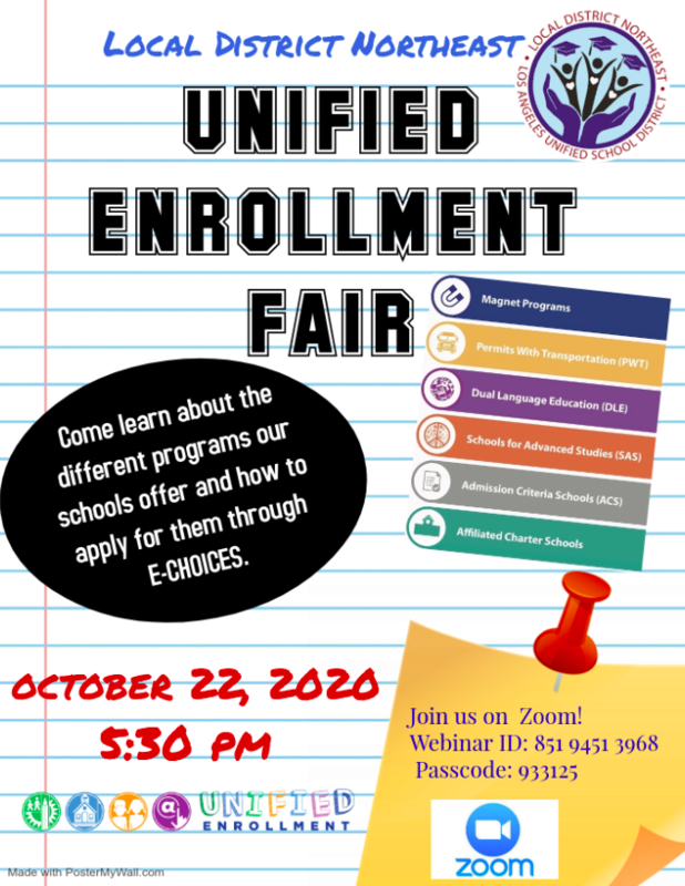 Unified Enrollment Fair October 22, 2020 at 5:30 p.m. Featured Photo