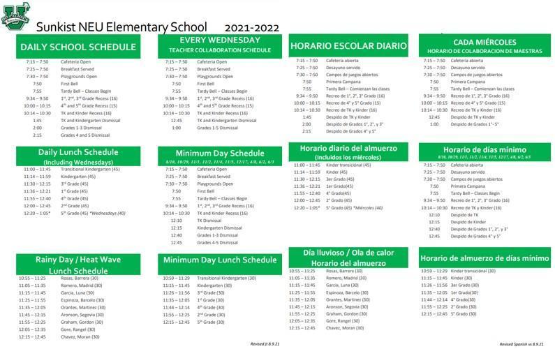 bell schedule 2021-2022