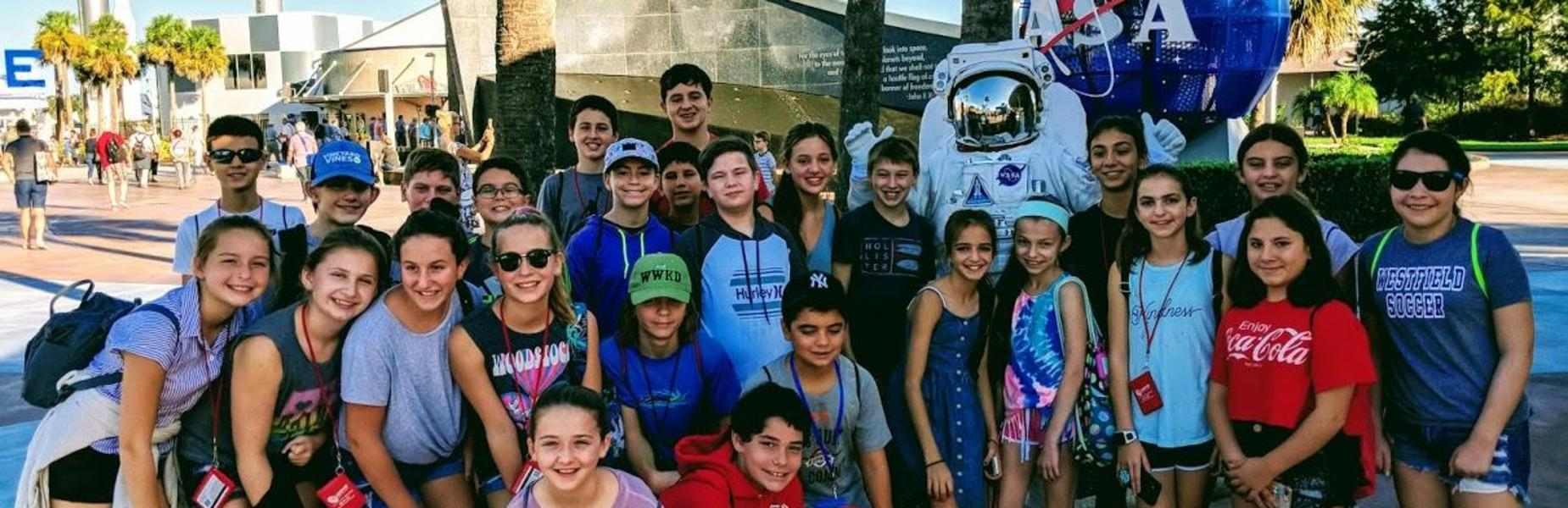 A recent STEM field trip to Florida included a visit to the Kennedy Space Center where 26 seventh graders and four staff members from Edison Intermediate School participated in flight simulators and other programs, visited the rocket garden and launch pads, toured the actual Space Shuttle Atlantis and more.