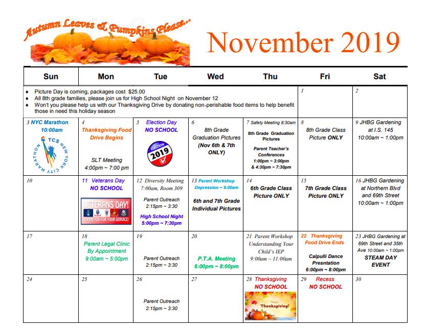 PTA Calendar for November