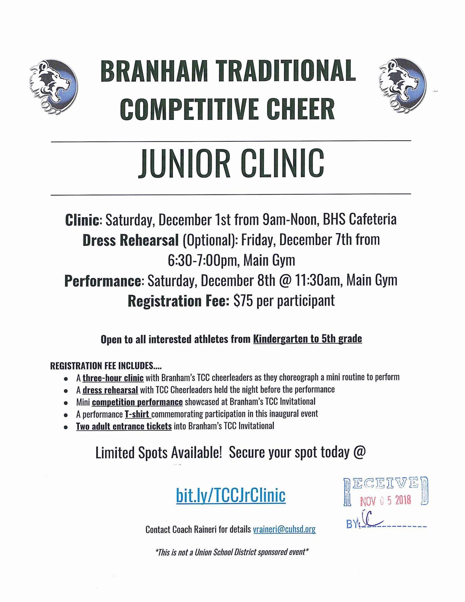 Branham Competitive Cheer Junior Clinic