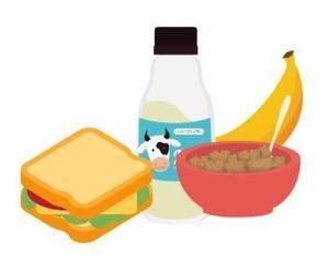 Cartoon image of a sandwich, carton of milk, cereal, and a banana