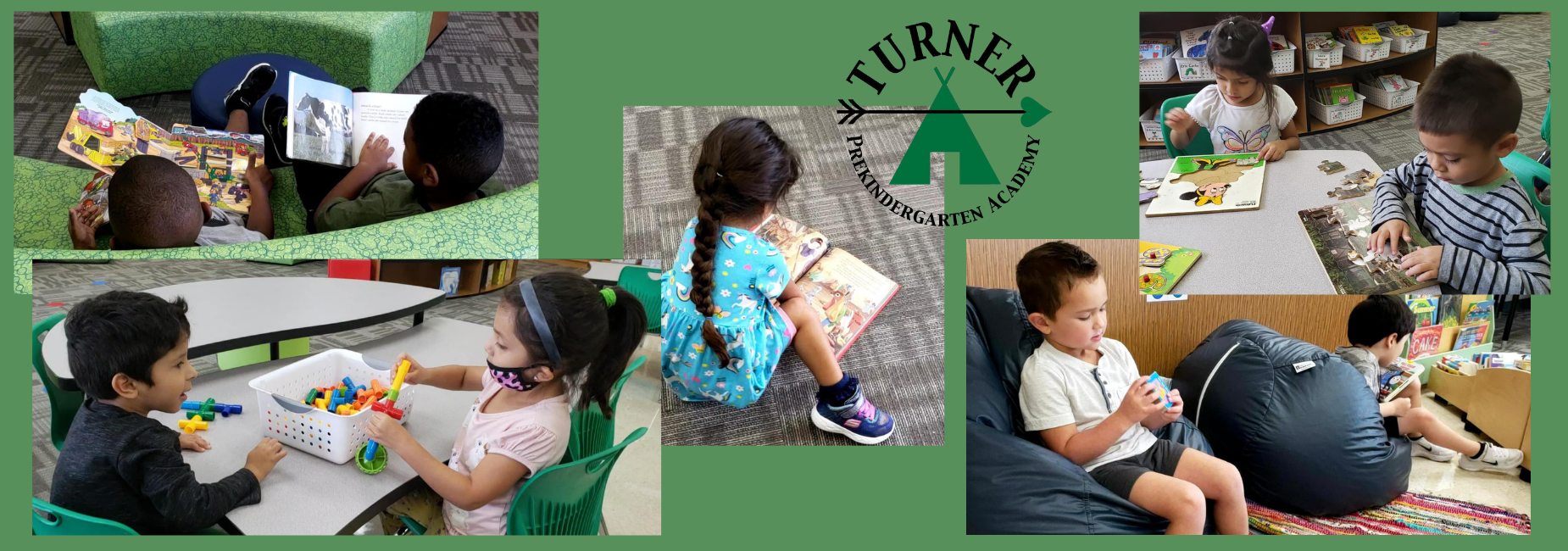 collage of 4 photos with pre k kiddos busy in class