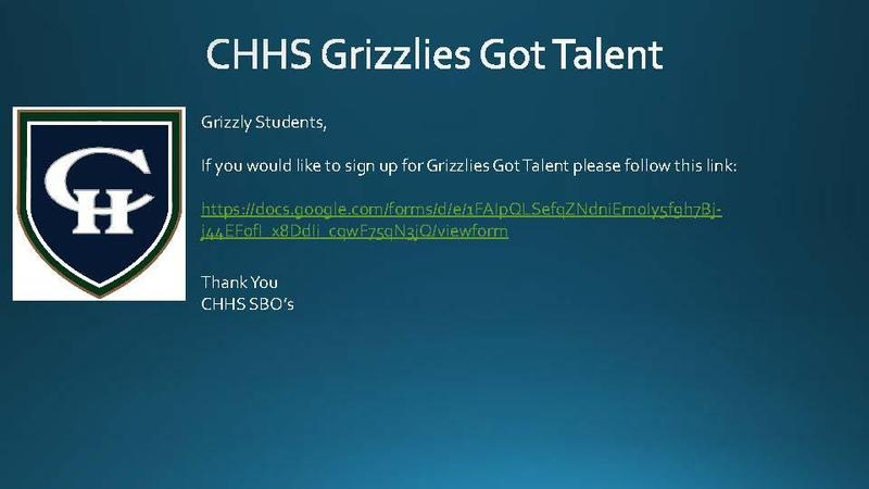 CHHS Grizzlies Got Talent